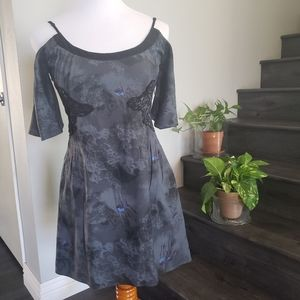 Free People Gray/Blue Floral Embroidered d…